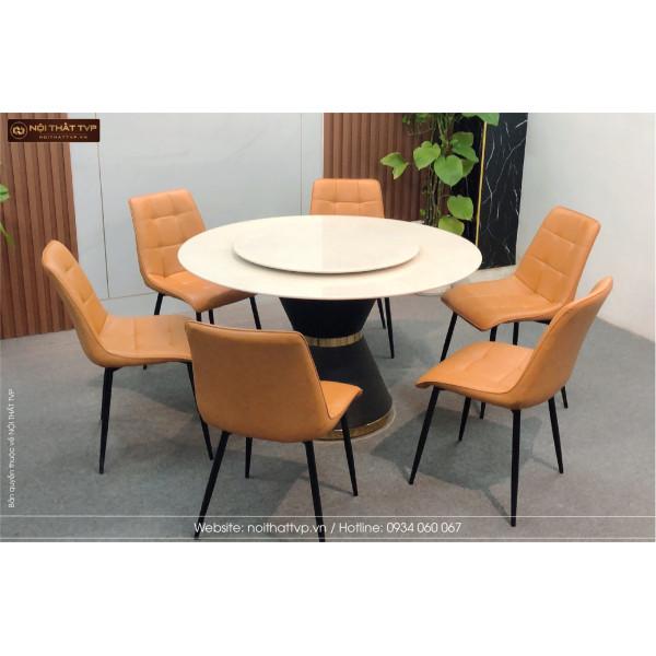 Bộ bàn ăn thông minh mặt đá tròn 6 ghếbọc da Cami màu cam