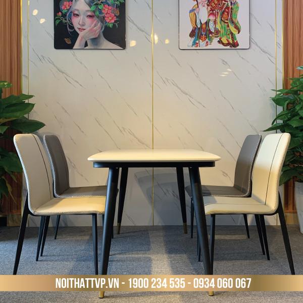 Bộ bàn ăn 4 ghế mặt đá chân sắt sơn tĩnh điện, ghế vuông bọc da chống cháy