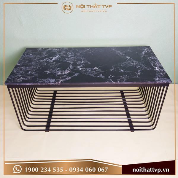 Bàn sofa chữ nhật, khung chân lưới sơn tĩnh điện vàng TVP KL-01