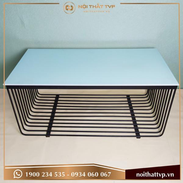 Bàn sofa chữ nhật mặt kính cường lực trắng, khung chân lưới sơn tĩnh điện đen TVP KL-03