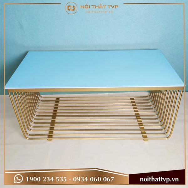 Bàn sofa chữ nhật mặt kính cường lực trắng, khung chân lưới sơn tĩnh điện vàng TVP KL-05