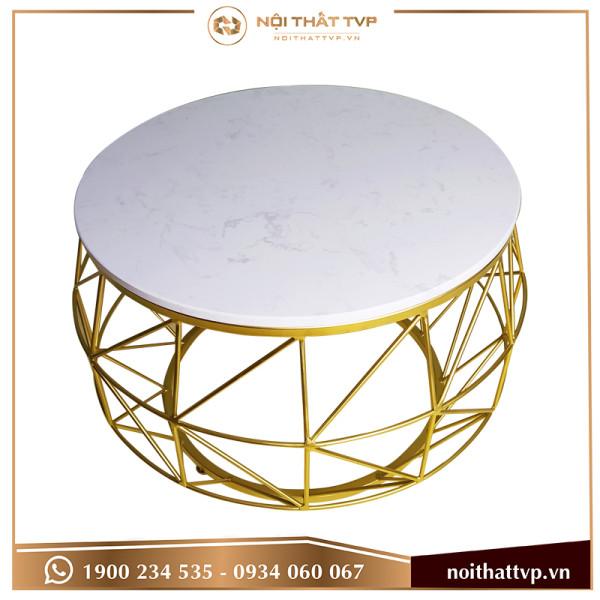 Bàn sofa cái trống mặt đá trắng, chân vàng TVP-BT71