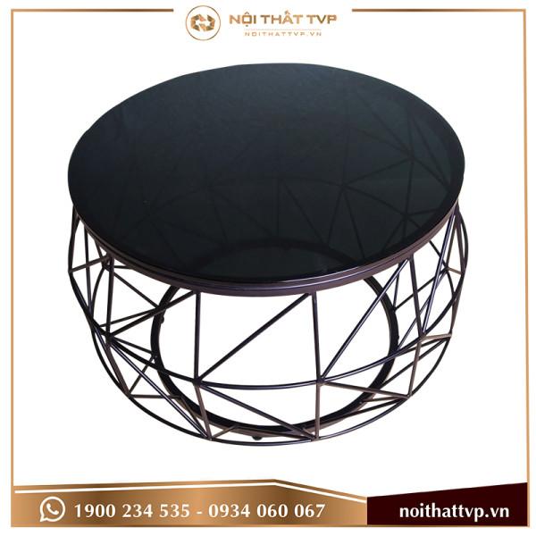 Bàn sofa cái trống mặt kính đen, chân đen TVP-BT78