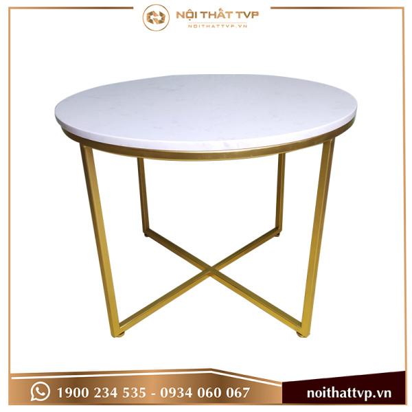 bàn sofa chân chéo mặt đá trắng cao cấp, chân vàng TVP-BT27
