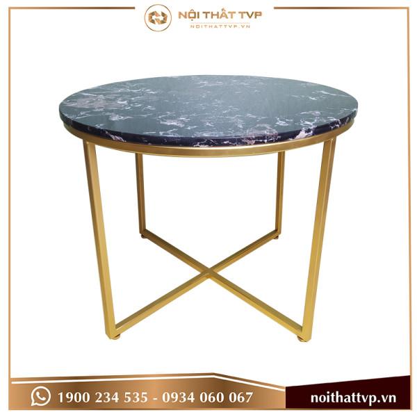 bàn sofa chân chéo mặt đá đen cao cấp, chân vàng  TVP-BT21