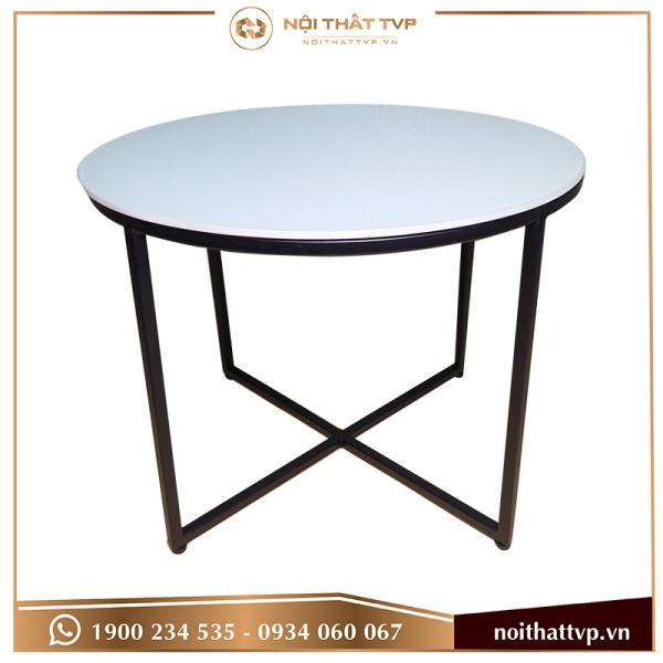 bàn sofa chân chéo kính trắng cao cấp, chân đen TVP-BT46