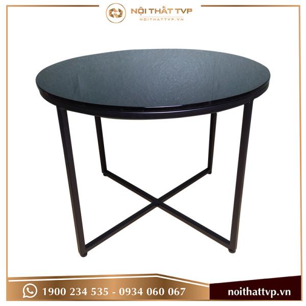 bàn sofa chân chéo kính đen cao cấp, chân đen TVP-BT28