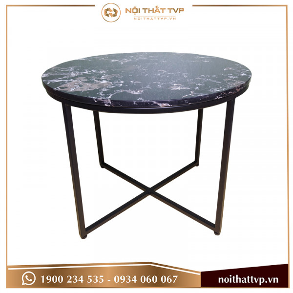 bàn sofa chân chéo mặt đá đen cao cấp, chân đen  TVP-BT26