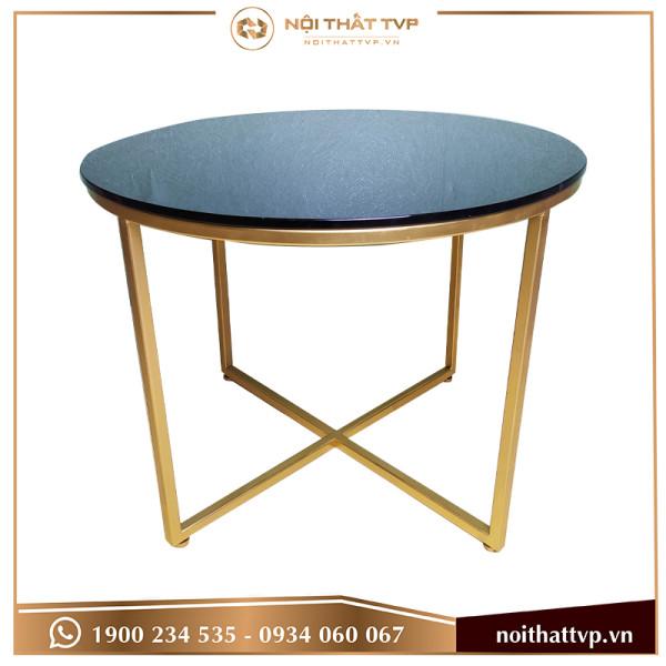 bàn sofa chân chéo kính đen cao cấp, chân vàng TVP-BT23