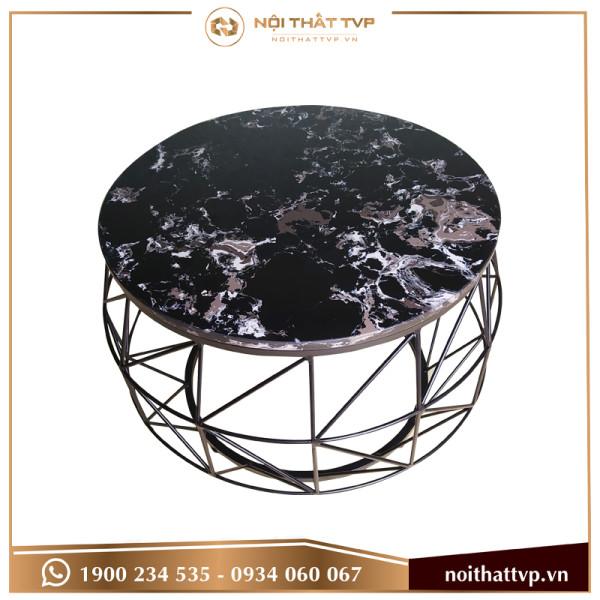 Bàn sofa cái trống mặt đá đen vân mây, chân đen TVP-BT75