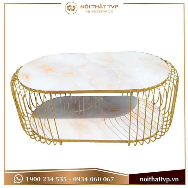 Bàn sofa chữ nhật, chân sơn tĩnh điện vàng, mặt kính trắng vân mây TVP-BT3-02