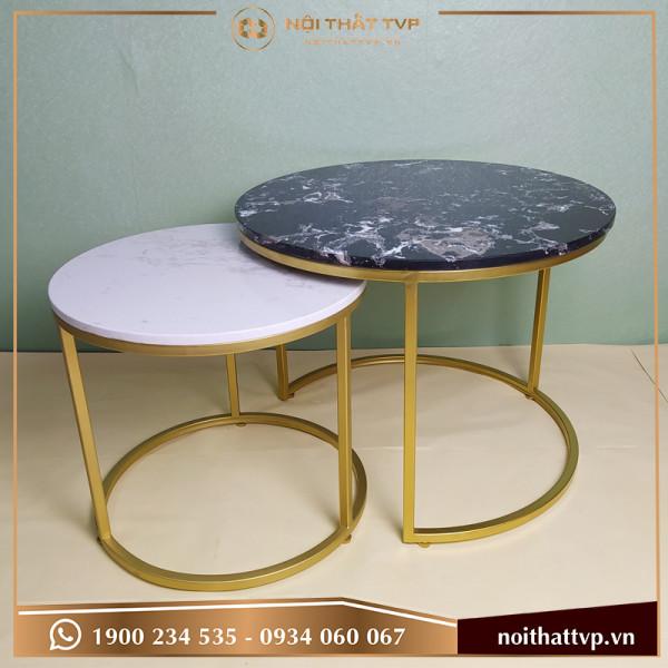Bàn sofa đôi tròn Co mặt đá trắng - đen vân mây, chân sơn tĩnh điện vàng TVP BĐC-09