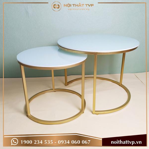 Bàn sofa đôi tròn Co mặt kính trắng, chân sơn tĩnh điện vàng TVP BĐC-02