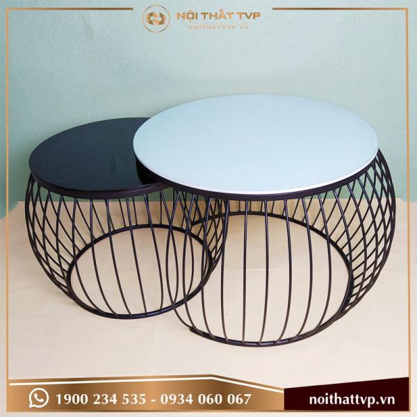 Bàn sofa tròn đôi mặt kính cường lực đen/trắng, chân đen TVP-BTĐ10