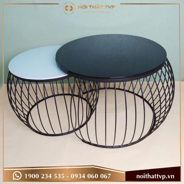 Bàn sofa tròn đôi mặt kính cường lực trắng/đen, chân đen TVP-BTĐ-14
