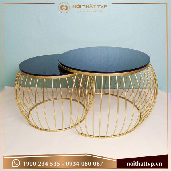 Bàn sofa tròn đôi mặt kính cường lực đen, chân vàng TVP-BTĐ-16