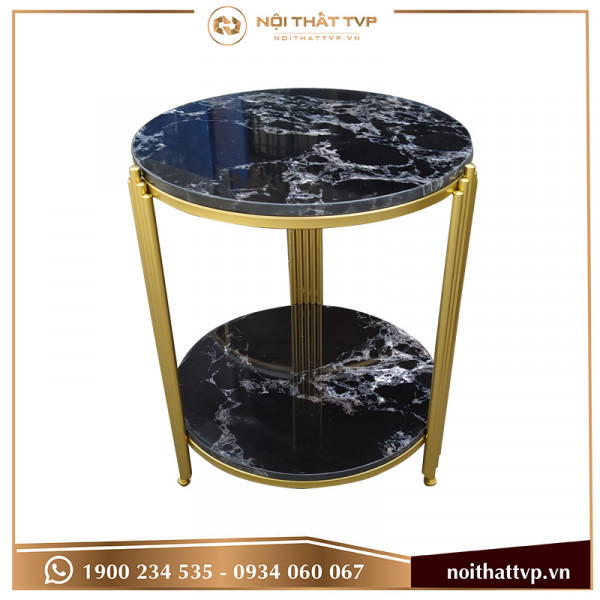 Bàn sofa hình trụ Hàn Quốc 2 tầng mặt đá đen vân mây, chân sơn tĩnh điện vàng TVP-BT-01