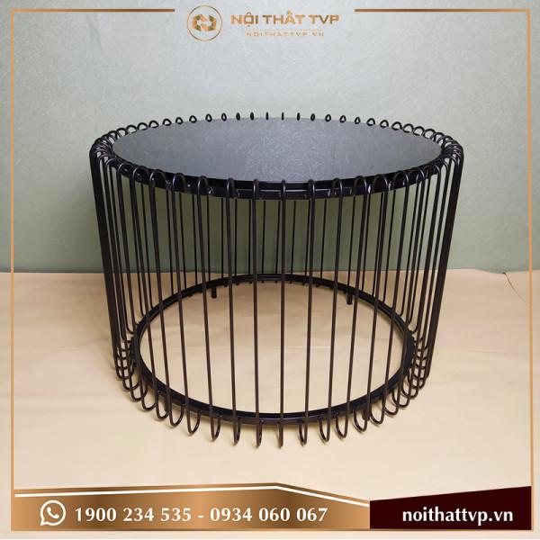 Bàn sofa dạng lồng chim, mặt kính cường lực đen, chân sơn tĩnh điện đen TVP-BĐ10