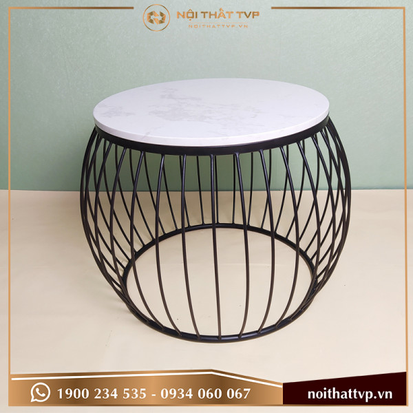 Bàn sofa lồng đèn mặt đá trắng vân mây, chân sơn tĩnh điện đen TVB-LĐ10
