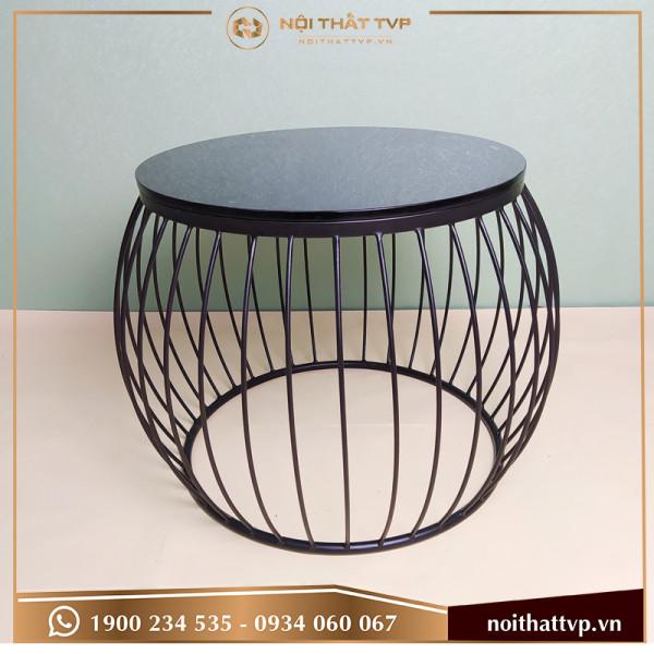 Bàn sofa lồng đèn mặt kính đen, chân sơn tĩnh điện đen TVB-LĐ07