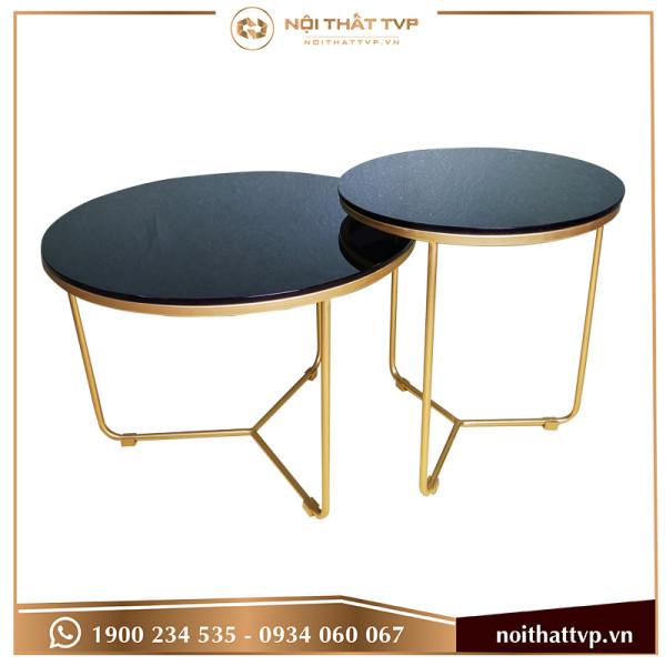 Bàn sofa tam giác lồng đôi 2 mặt kính cường lực đen, chân sơn tĩnh điện vàng TVP-BT02