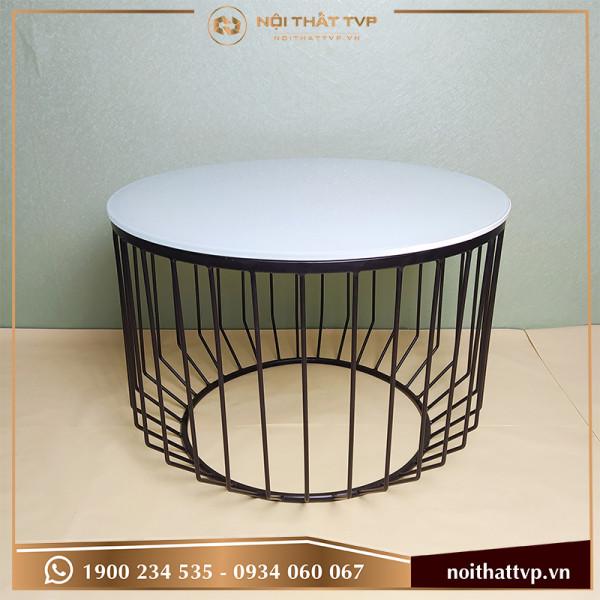 Bàn sofa hình trụ bo góc tròn mặt kính cường lực trắng, chân sơn tĩnh điện đen TVP-BT04