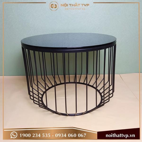 Bàn sofa hình trụ bo góc tròn mặt kính cường lực đen, chân sơn tĩnh điện đen TVP-BT05