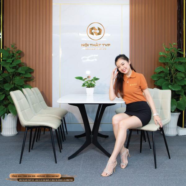 Bộ bàn ăn 6 ghế mặt gốm Ceramic, chân cánh bướm, ghế Loft vuông - kem
