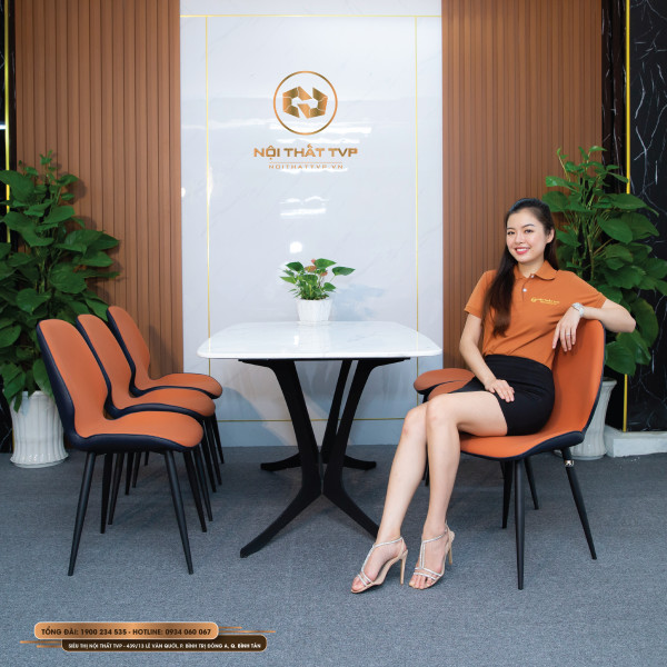 Bộ bàn ăn 6 ghế mặt đá Marble trắng, chân cánh bướm, ghế nệm nỉ Hàn nhập khẩu - cam