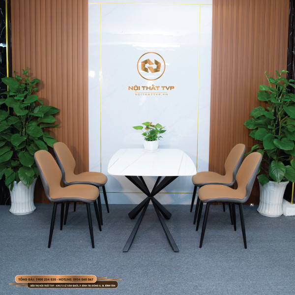 Bộ bàn ăn 4 ghế mặt gốm Ceramic trắng, chân sắt chữ X đôi, ghế nệm nỉ Hàn - nâu