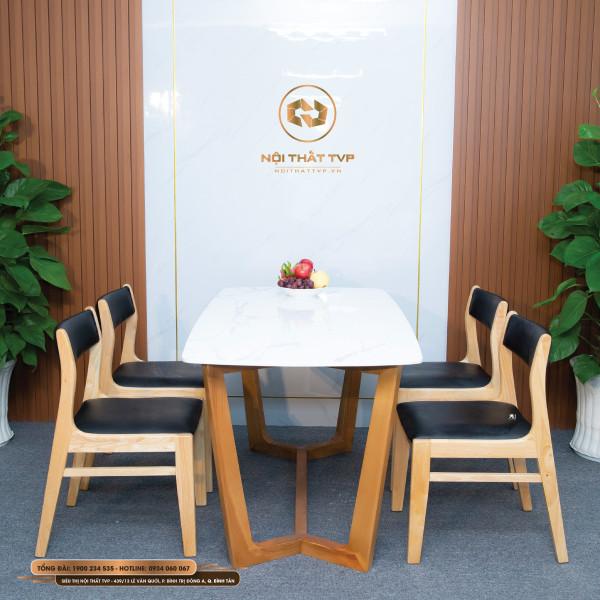 Bộ bàn ăn Concorde 4 ghế mặt đá Marble trắng vân mây, ghế Bella gỗ cao su tự nhiên, bọc đệm da Hàn Quốc cao cấp - đen