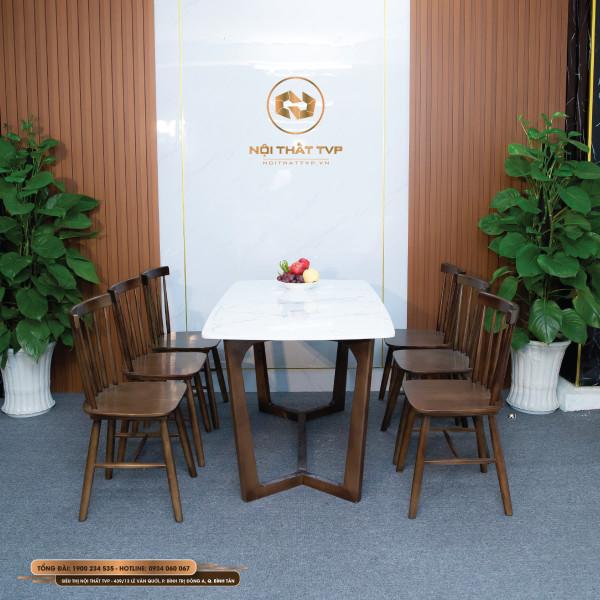 Bộ bàn ăn Concorde 6 ghế mặt đá Marble trắng vân mây, ghế Rio gỗ cao su tự nhiên - màu nâu