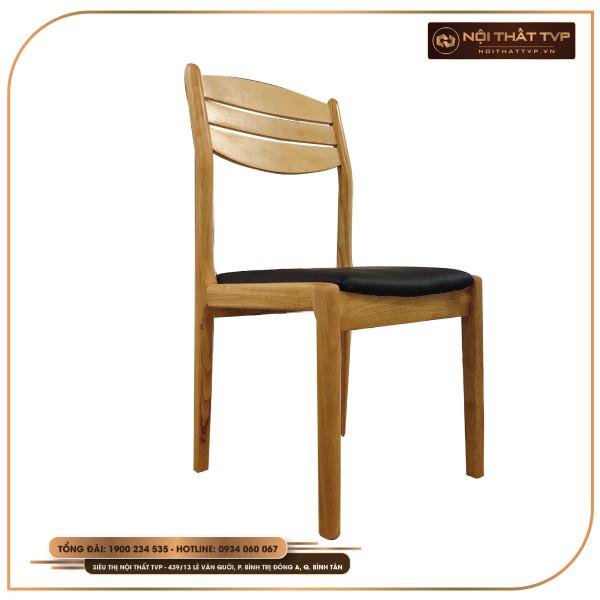 Ghế ăn Mega 3 nan gỗ tự nhiên, bọc đệm da cao cấp TVP - màu gỗ tự nhiên