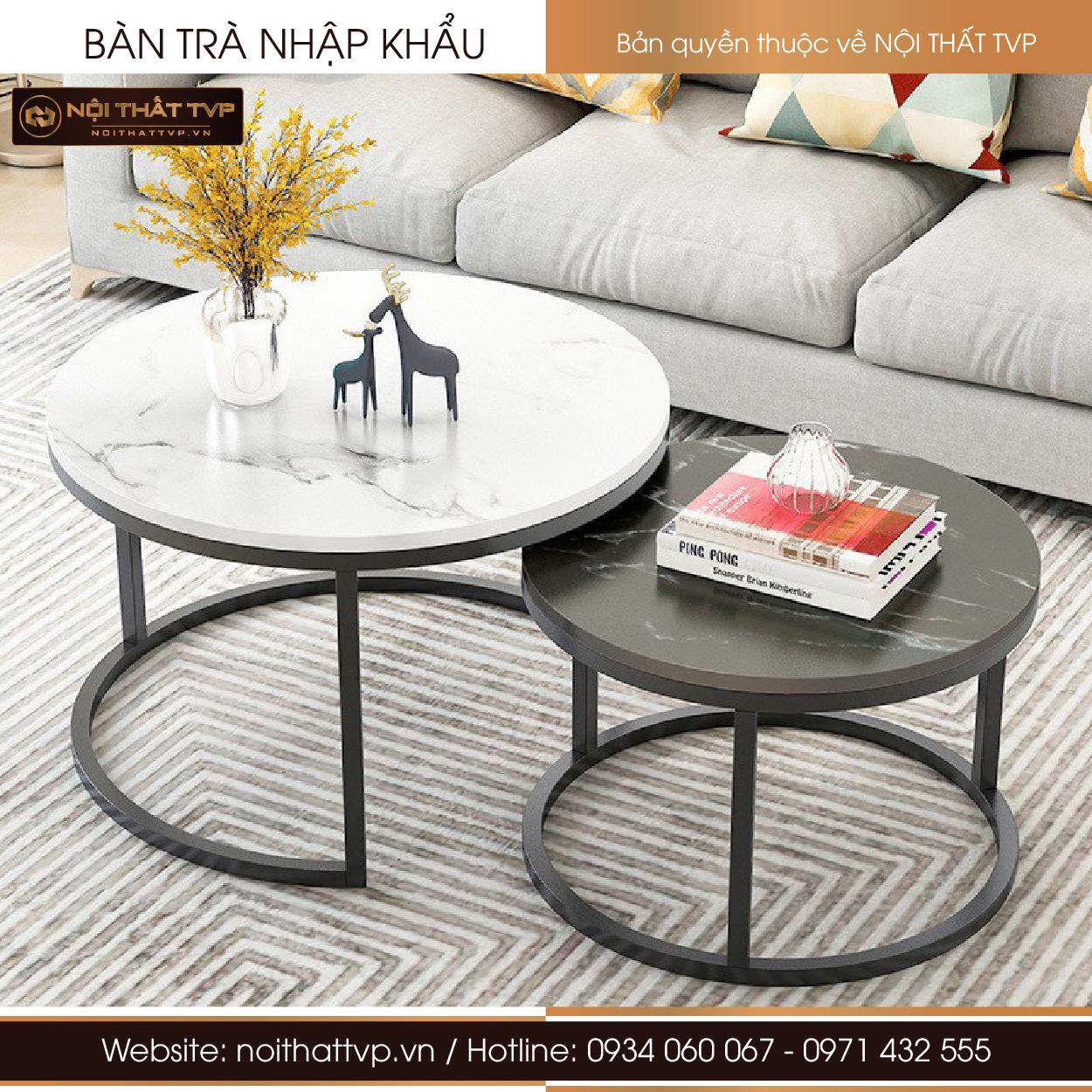 bàn sofa tròn đôi đá trắng và đen, chân sắt sơn đen