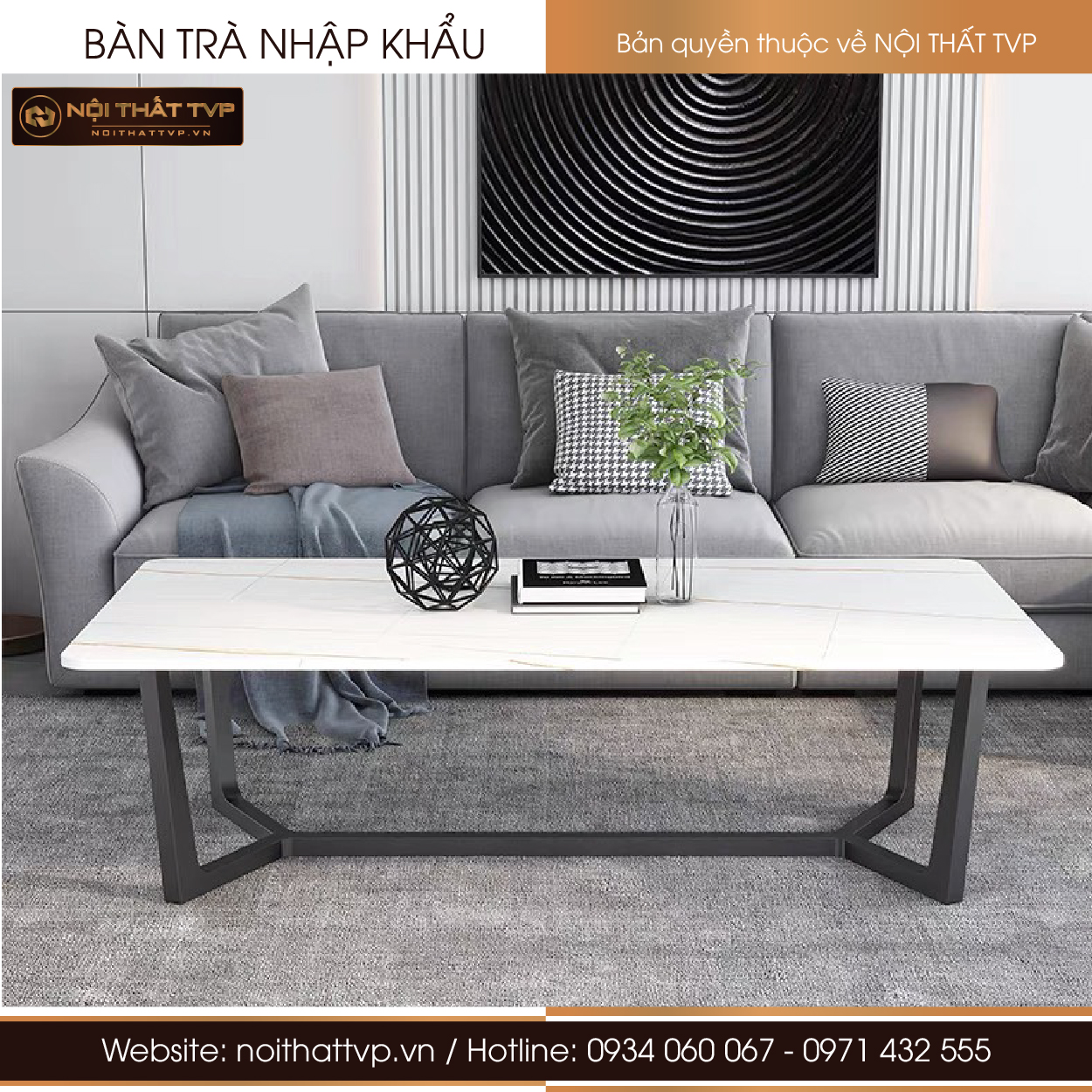 bàn sofa mặt ceramic chân thép sơn tĩnh điện dạng concorde
