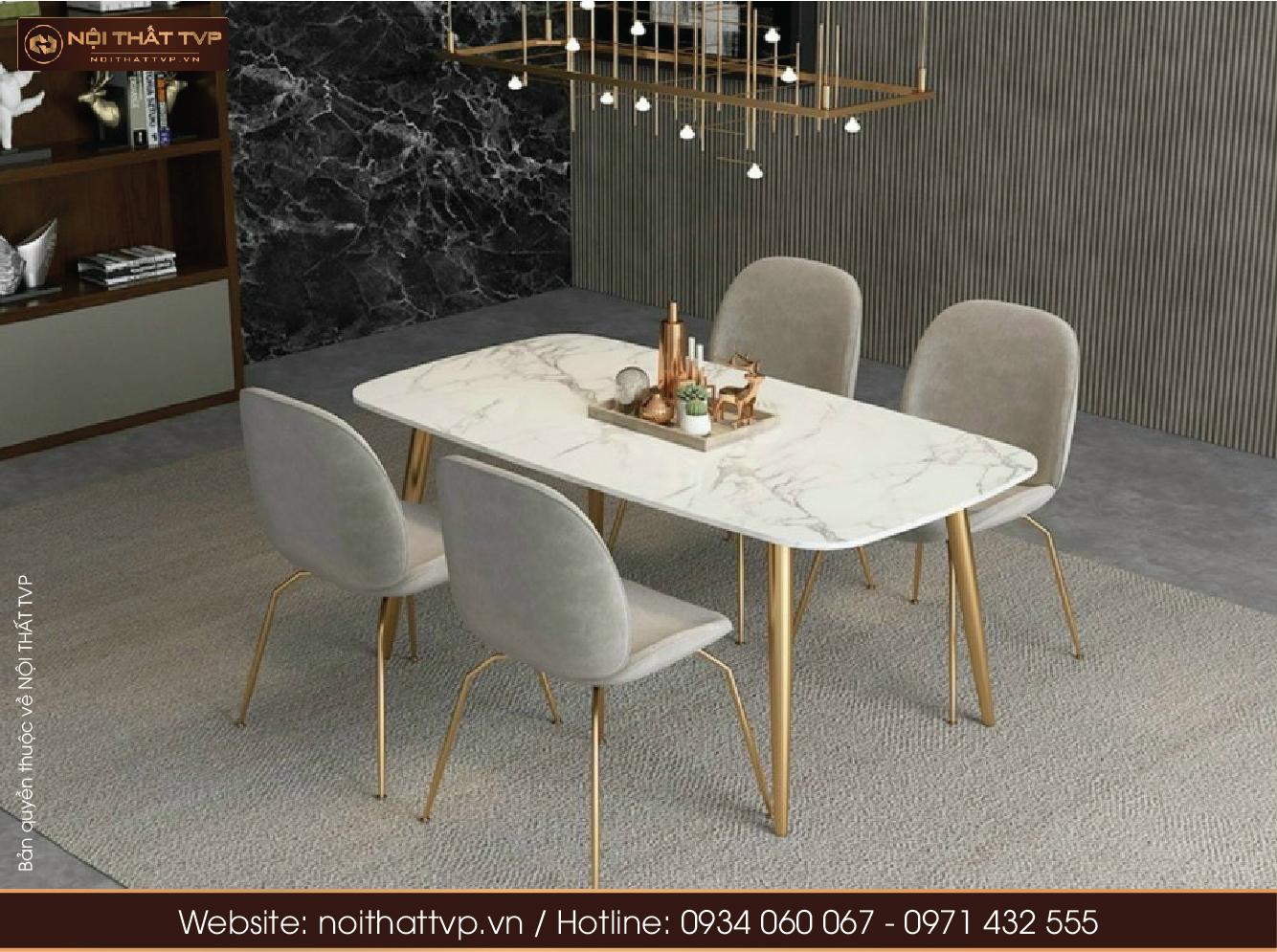 Bộ bàn đá cẩm thạch và ghế ăn Gubi