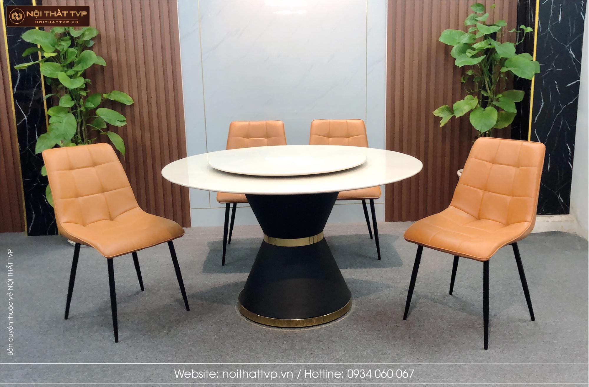 bộ bàn ăn tròn thông minh ghế da cami màu cam