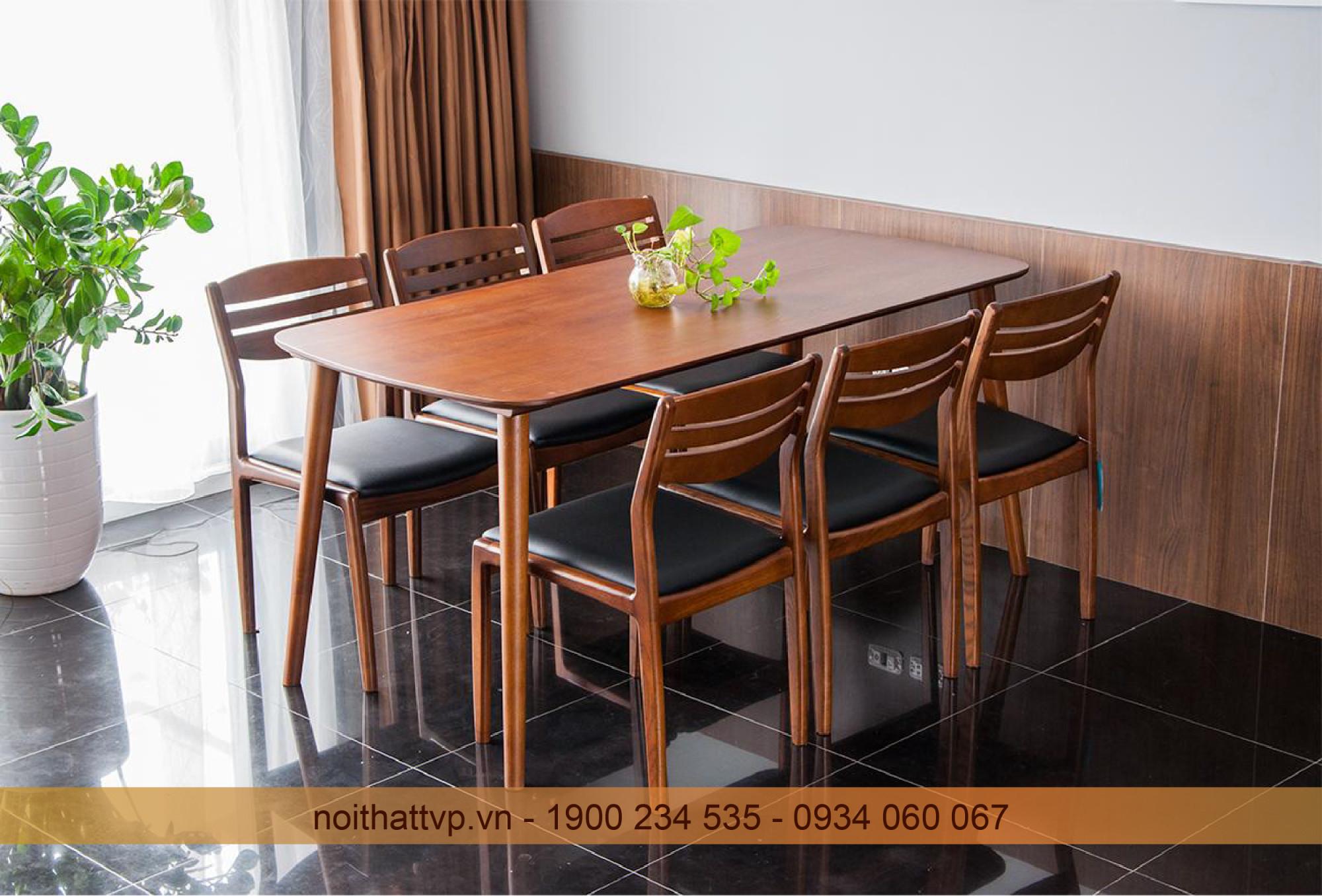 bàn ăn 6 ghế gỗ sồi màu óc chó