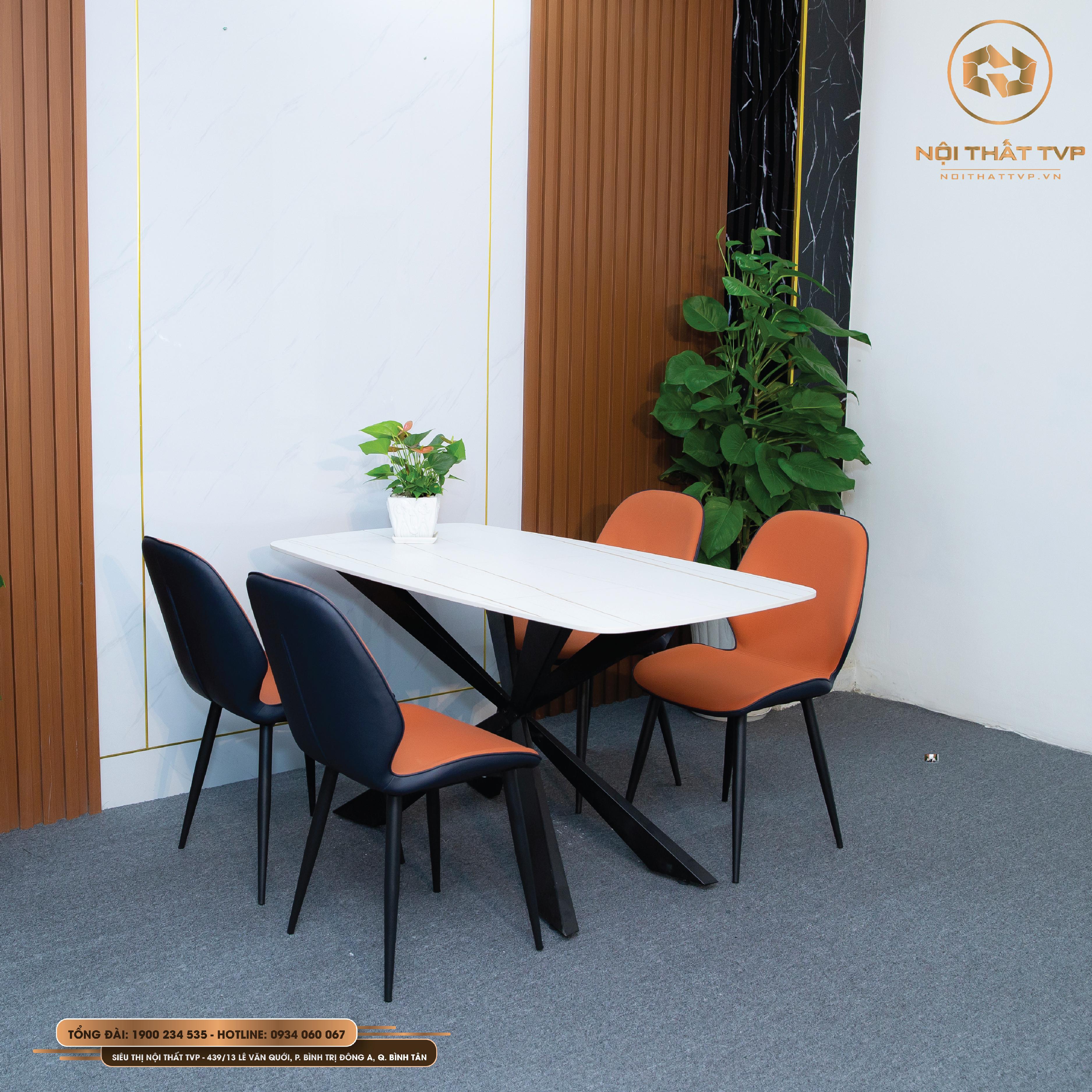 Bộ bàn ăn mặt đá ceramic 4 ghế